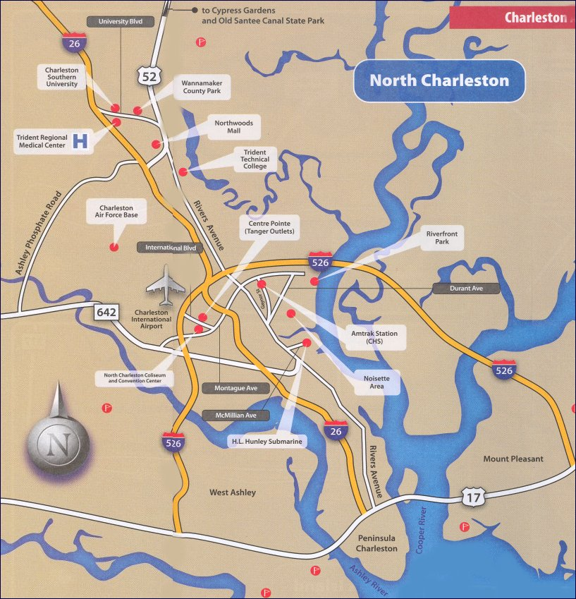 Free Interactive and Printable Charleston SC Maps – Charleston Tourist Map